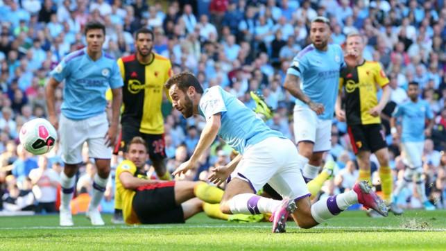 HEAD BOY : Bernardo stoops to conquer as his header makes it 4-0