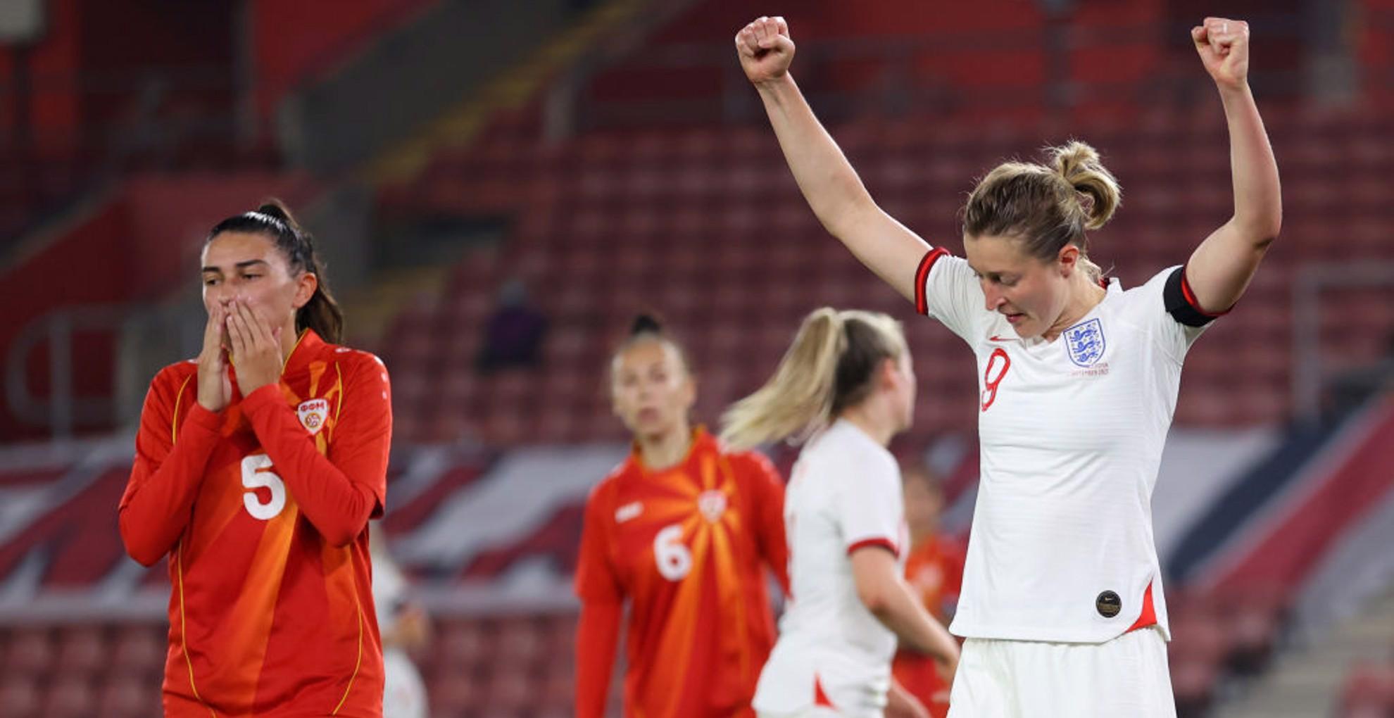 GET IN: Ellen White celebrates her first goal