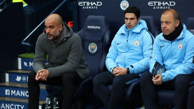 WATCFUL EYES : Pep, Mikel and Rodolfo look on
