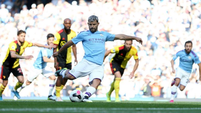SPECIAL KUN : Sergio converts his penalty to make it 2-0 and chalk up his 100th City career goal at the Etihad