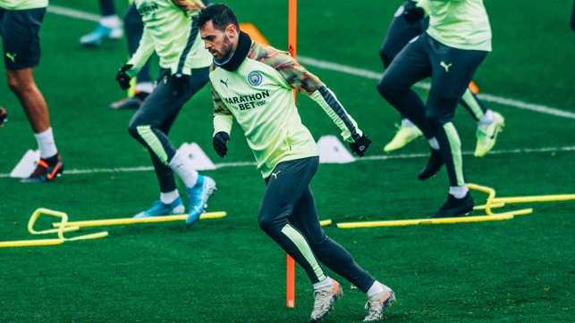 CENTRE OF ATTENTION : Bernardo Silva finishes off another training drill