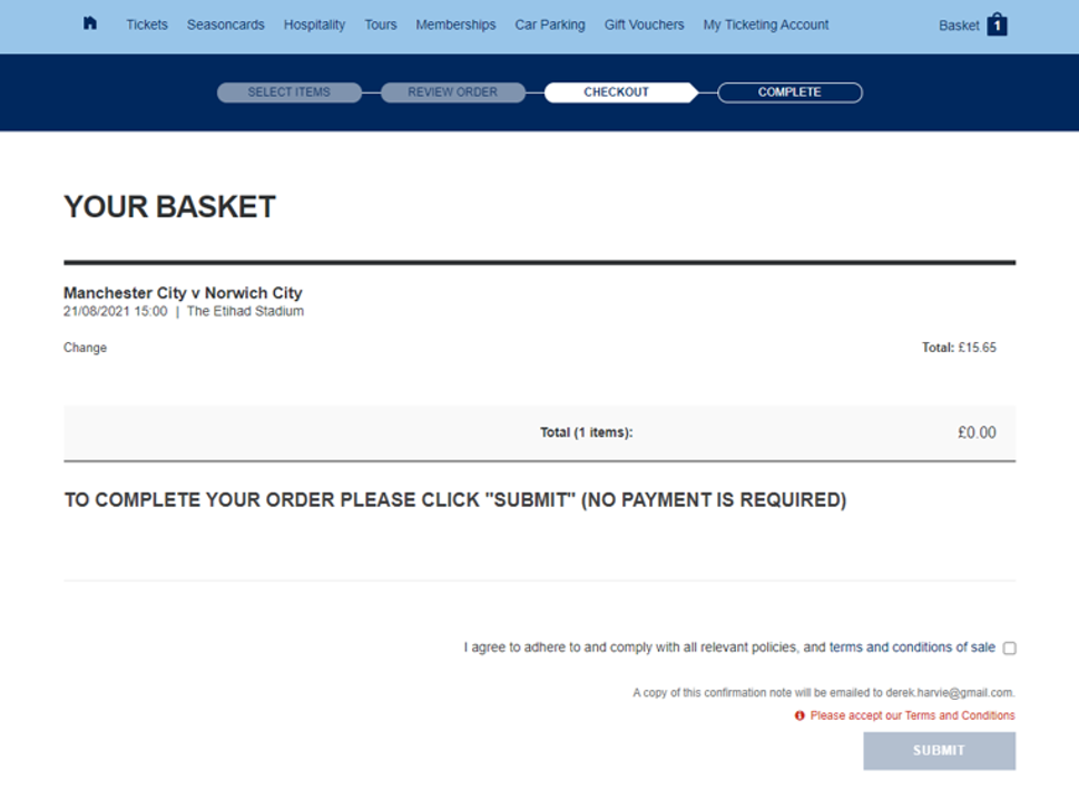 Ticket Transfer step 6