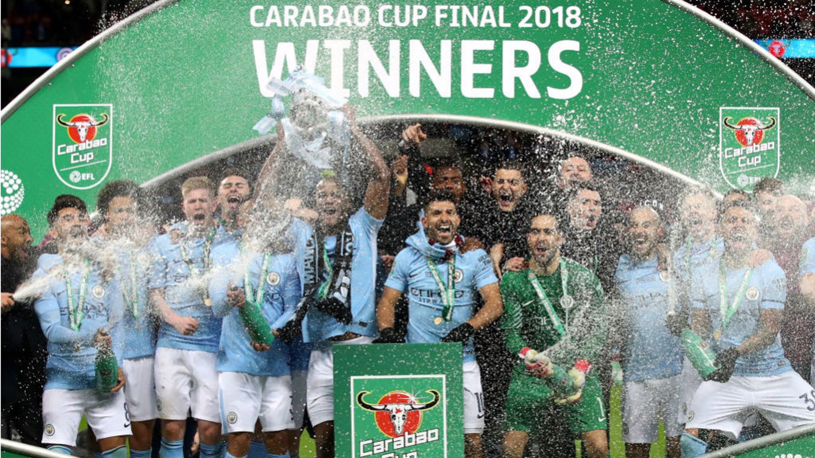 WEMBLEY WONDERS: Manchester City celebrate last season's Carabao Cup final triumph