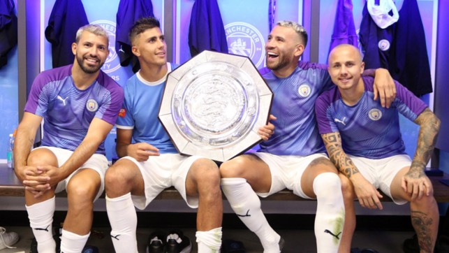 RIGHT AT HOME : New boys Rodri and Angelino celebrate with Sergio Aguero and Nicolas Otamendi.