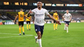 BRAZILIANT! Gabriel Jesus celebrates sealing the deal for City with his injury time strike