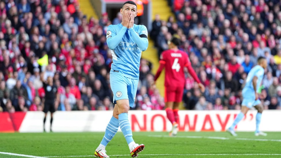 FO-DENIED : Phil reacts after Alisson's save from his goal-bound shot.