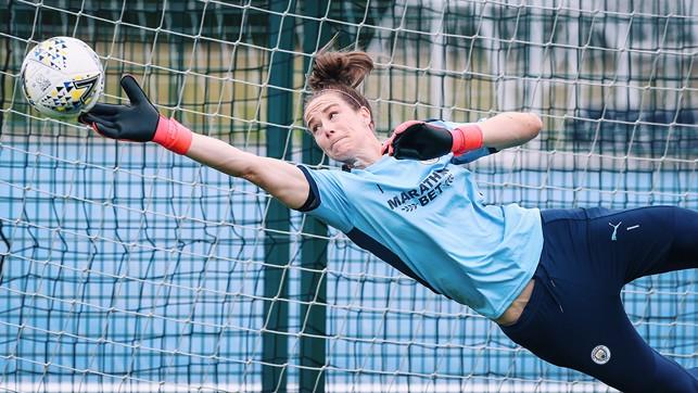 HIGH FLIER: Karen Bardsley demonstrates her agility and athleticism