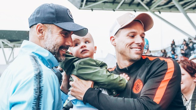 BOSS MAN : Pep took time out to meet and greet some of our youngest supporters
