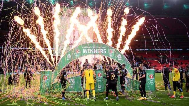 SIGHT FOR SORE EYES : The players enjoy the spectacular displays on the pitch after the victory.