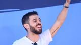 STAR MAN: Bernardo celebrates being voted the Etihad Player of the Season