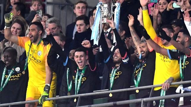 WINNERS : David Silva lifts the Carabao Cup trophy at Wembley.