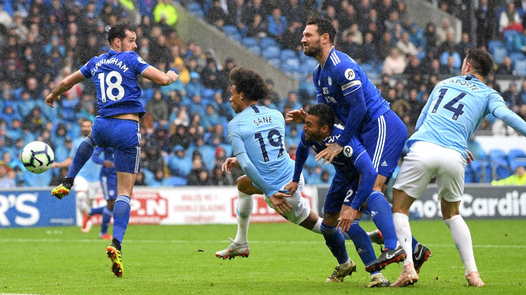 SO CLOSE : Leroy Sane's header brushed the post against Cardiff
