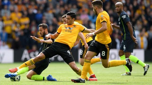SLIDE RULE : Bernardo Silva is denied by some desperate Wolves defending