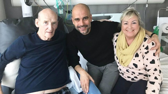 TRUE BLUES : Manager Pep Guardiola made a special visit to see Bernard whilst he received treatment in hospital and is pictured here along with Bernard's wife Karen