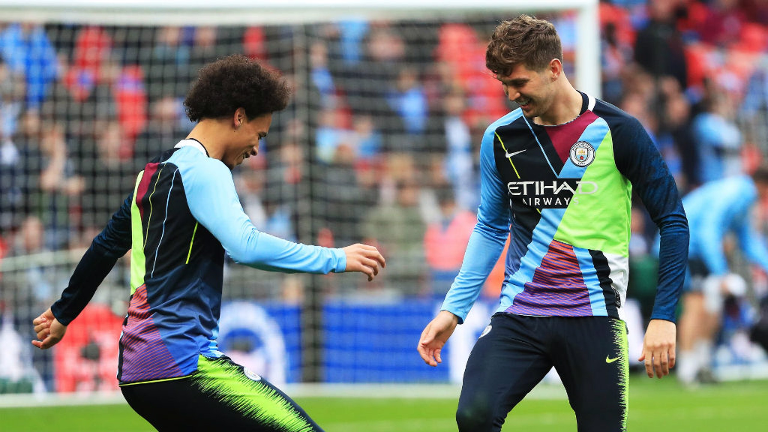 IMPRESSED: The unique jersey has put a smile on the faces of Leroy Sane and John Stones.