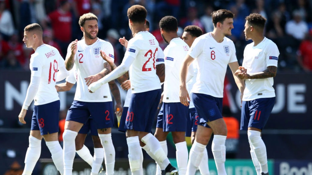 LIONS ROAR : Kyle Walker and his England colleagues celebrate the penalty shoot-out victory