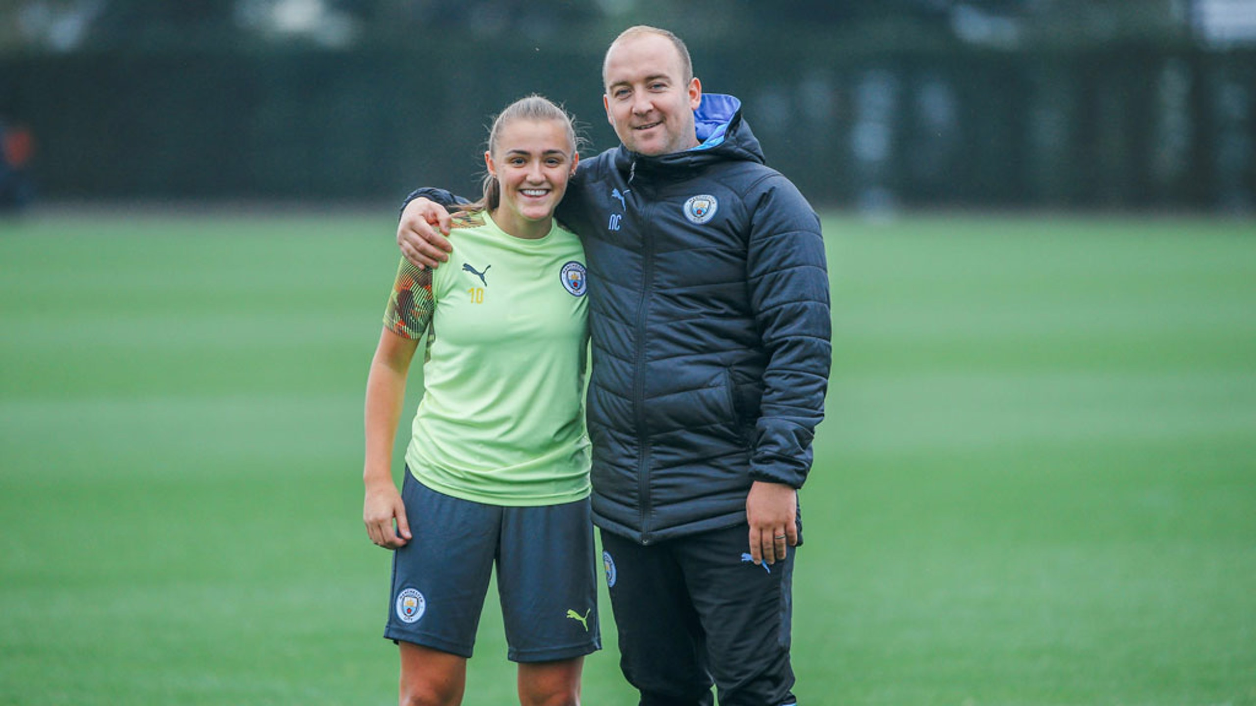 TEAM: A first training session since injuring her hamstring for Georgia Stanway.