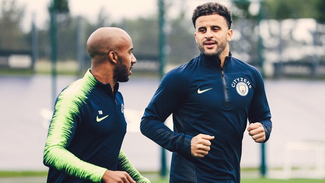 TWO'S COMPANY : Fabian Delph and Kyle Walker are a study in concentration as the focus switches to Cardiff