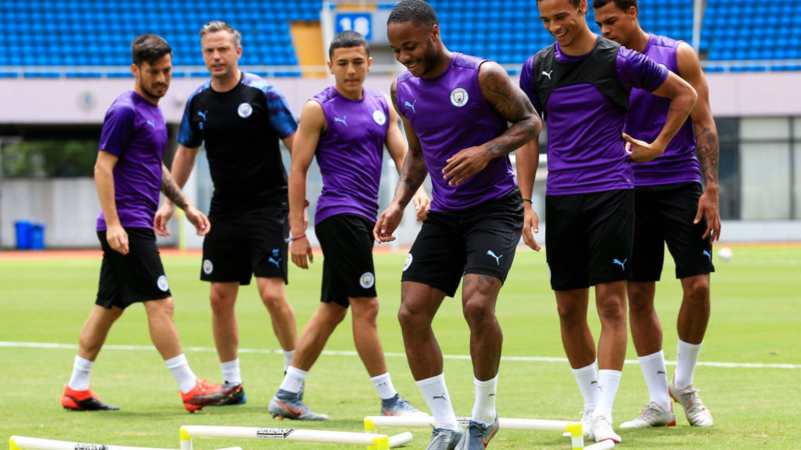 WATCHING AND LEARNING: Ian Poveda trains alongside Raheem Sterling during City's 2019 pre-season tour.