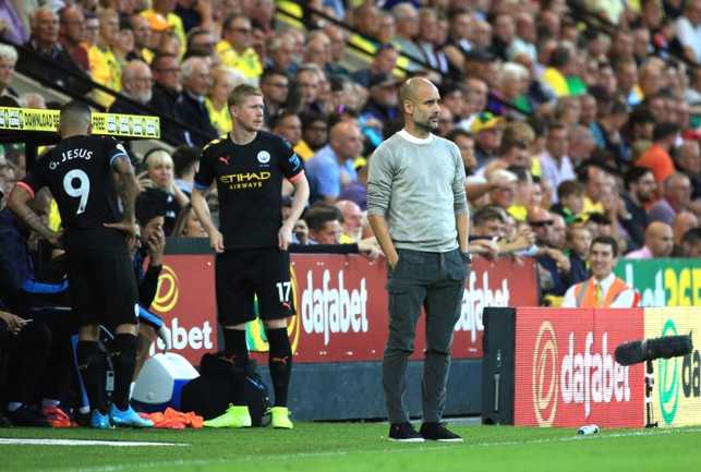DOUBLE SUB : Guardiola rolls the dice by bringing on De Bruyne and Jesus