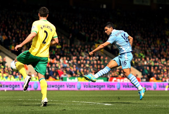 YOU BEAUTY : Aguero scores what would be voted the goal of the season against Norwich in 2012