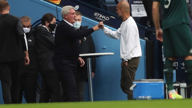 BOSSES : Guardiola greets Bruce as both managers arrive in the dugouts.