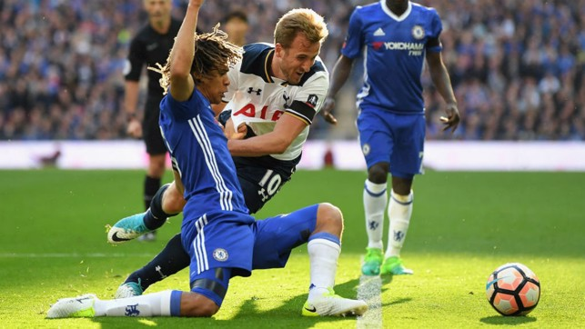 : CAPITAL GAINS: Nathan Ake challenges Tottenham's Harry Kane during his return to Chelsea action in 2017