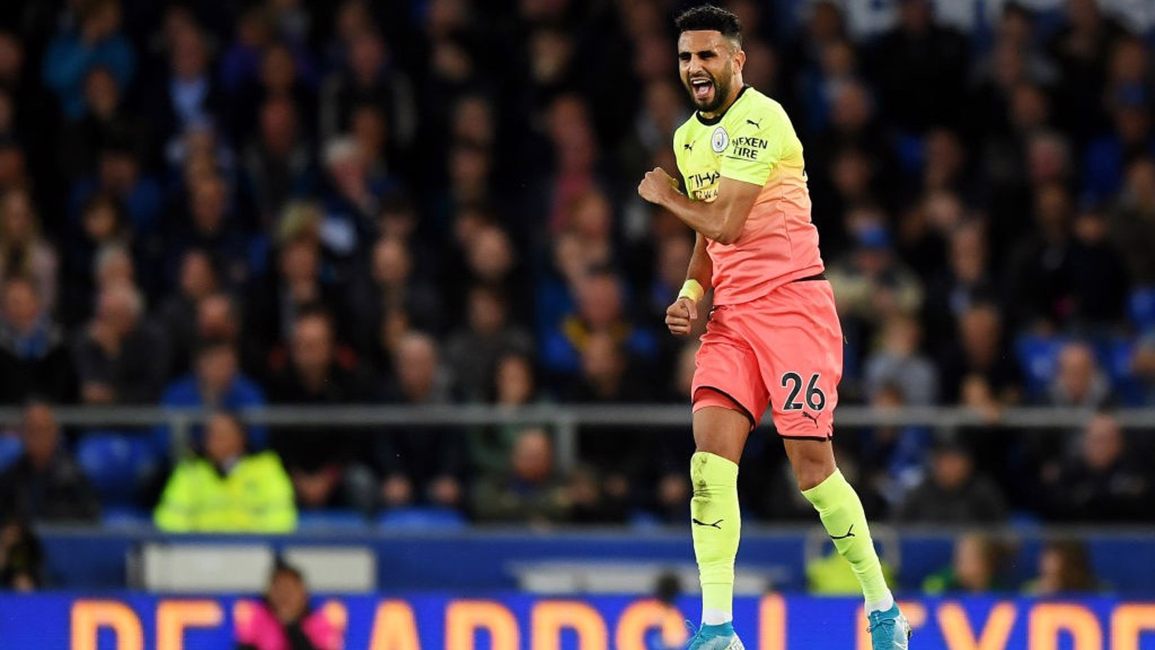 JUMPING FOR JOY: Riyad Mahrez celebrates his goal against Everton.