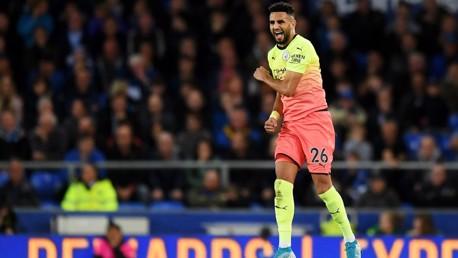 JUMPING FOR JOY: Riyad Mahrez celebrates his goal against Everton.