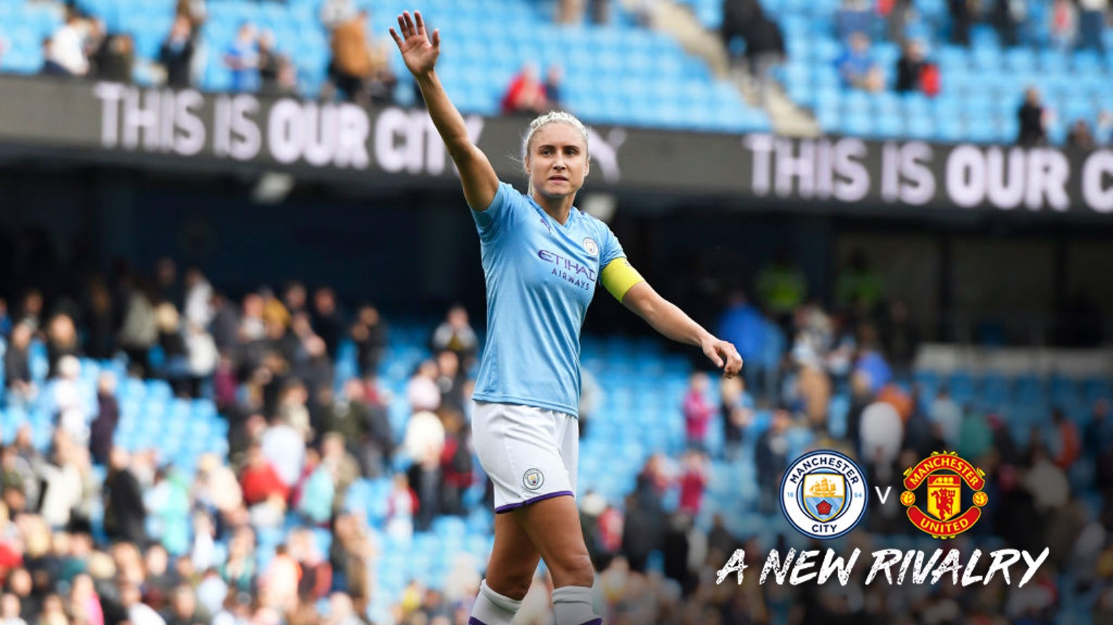 SKIPPER: Steph Houghton salutes the crowd at the Etihad.