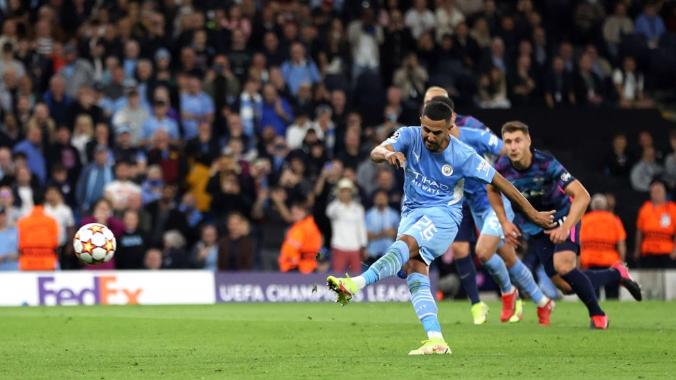 MAHRVELLOUS : Riyad blasts in from the penalty spot to restore the two-goal lead in added time at the end of the first half.