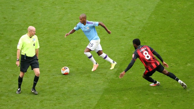 BOSSING THINGS : Fernandinho keeps things ticking over for City in the second period.