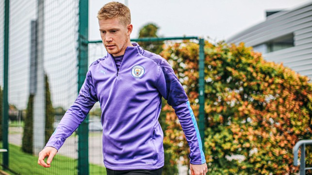 WELCOME BACK! : Kevin De Bryune strides out ahead of Monday's training session