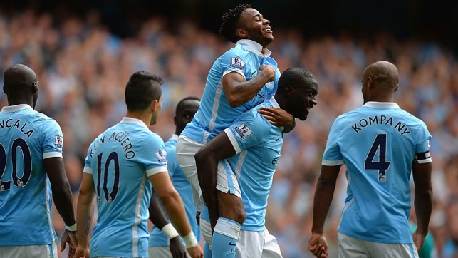FIRST GOAL : Raheem celebrates after netting his first City goal against Watford.