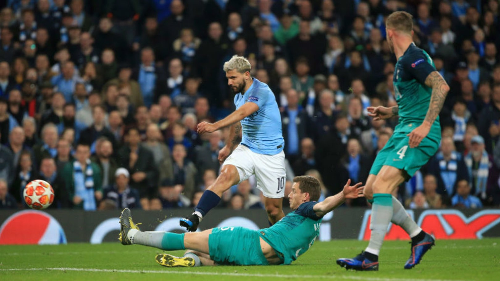 POWER SERGE: Kun lashes home City's fourth goal from close-range to put us ahead in the tie for the first time