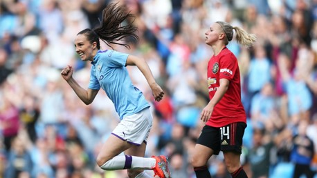 HAIR RAISER!: Caroline Weir can't contain her joy after her stunning strike
