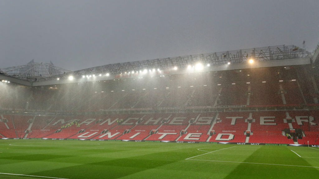 WET, WET, WET : Old Trafford was subjected to a torrential downpour a couple of hours ahead of kick-off