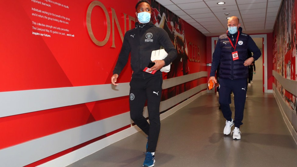 AWAY DAY : Sterling and co arrive at Anfield.