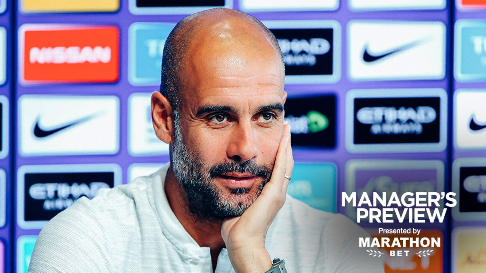 PEP TALK: The boss addressed the press on Friday afternoon ahead of this weekend's game at Wolves