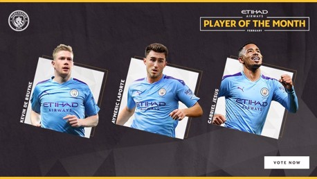De Bruyne, Laporte and Jesus all nominated for February Etihad award