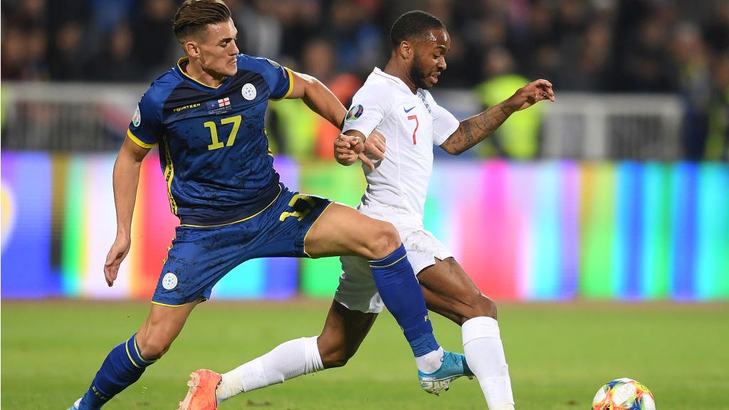 INTERNATIONAL DUTY : Raheem in action against Kosovo