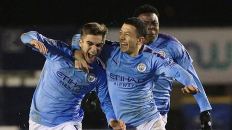 JOY: Iker Pozo and Ian Poveda celebrate City U21s victory over Shrewsbury Town.