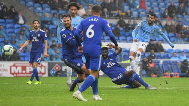 FIRST GOALS : Riyad Mahrez opens his City account with a brace in the 5-0 win away to Cardiff City