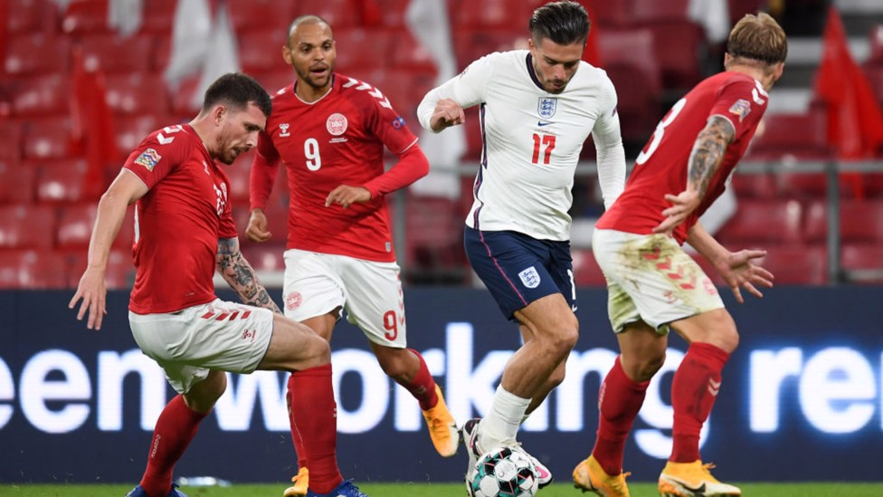 THREE LIONS DEBUT: Jack is subbed on for his senior England debut in a Nations League clash with Denmark in September 2020