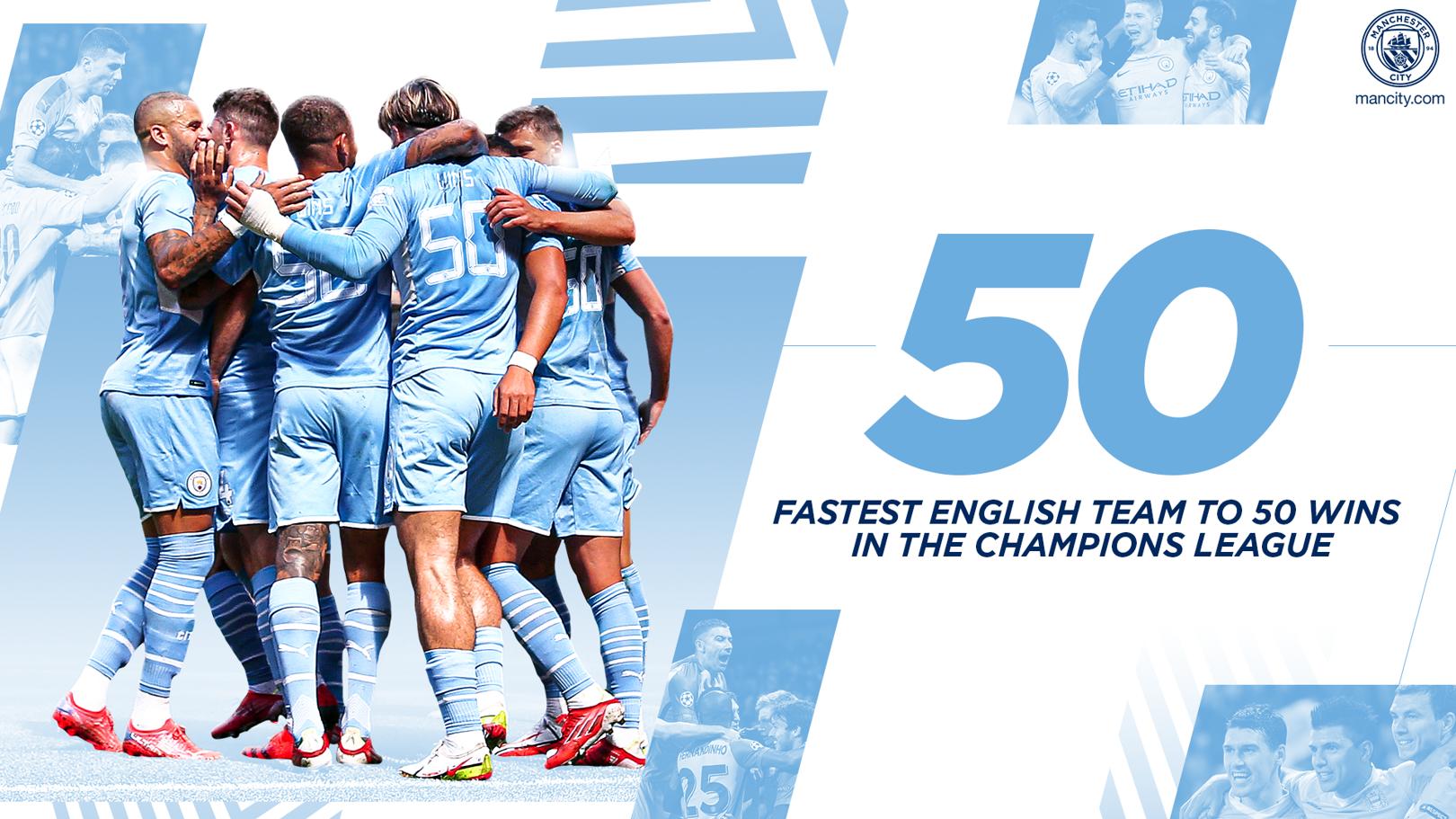 ซิตี้กลายเป็นทีมจากอังกฤษที่ชนะ 50 เกมในแชมเปี้ยนส์ลีก เร็วที่สุด!