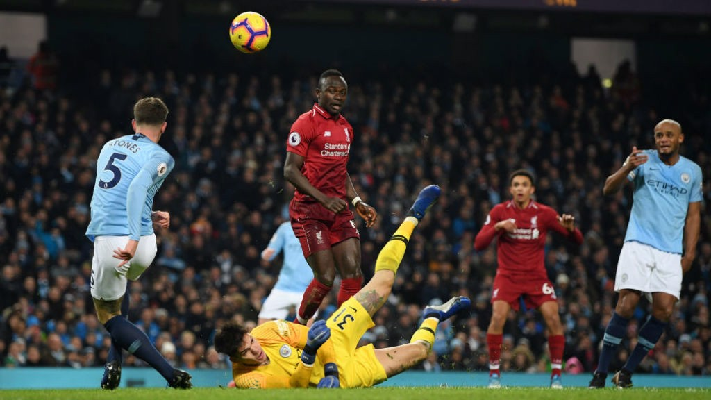 RED ALERT : John Stones and Ederson combine to try and keep out Sadio Mane