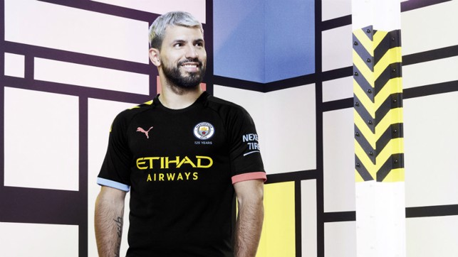 RICH HERITAGE : Sergio Aguero wears our new PUMA away kit which draws its inspiration from Manchester's rich cultural heritage