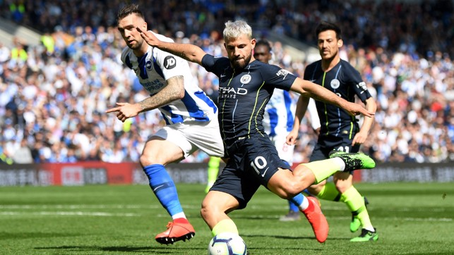 AGUEROOOOO : Our Argentine ace was at the heart of more final day drama, netting a crucial equaliser 83 seconds after Brighton's opener