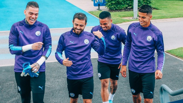 TEAM SPIRIT : Something has tickled the lads, including new signing Joao Cancelo