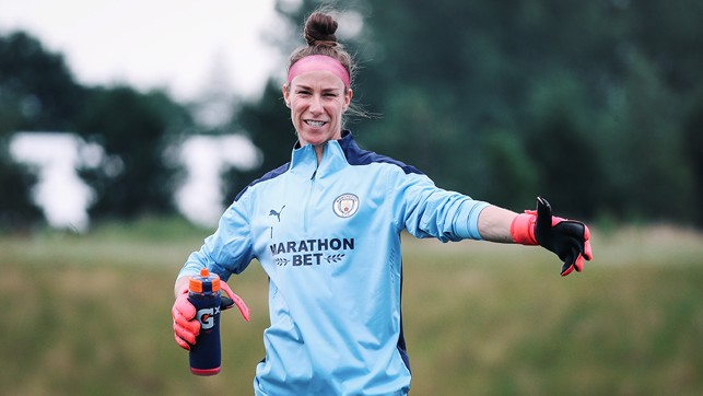 KEEPING IT COOL : Karen Bardsley dons the gloves